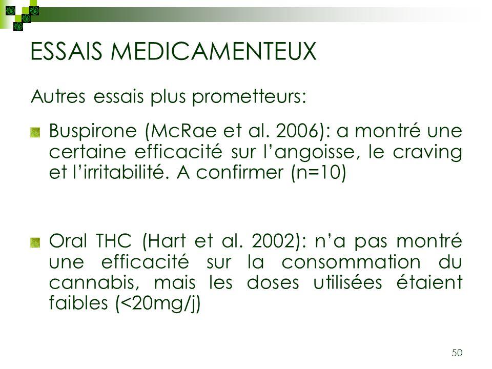 ESSAIS MEDICAMENTEUX Autres essais plus prometteurs: