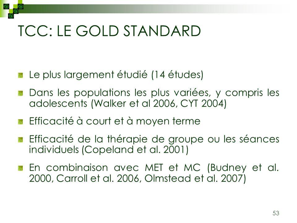 TCC: LE GOLD STANDARD Le plus largement étudié (14 études)
