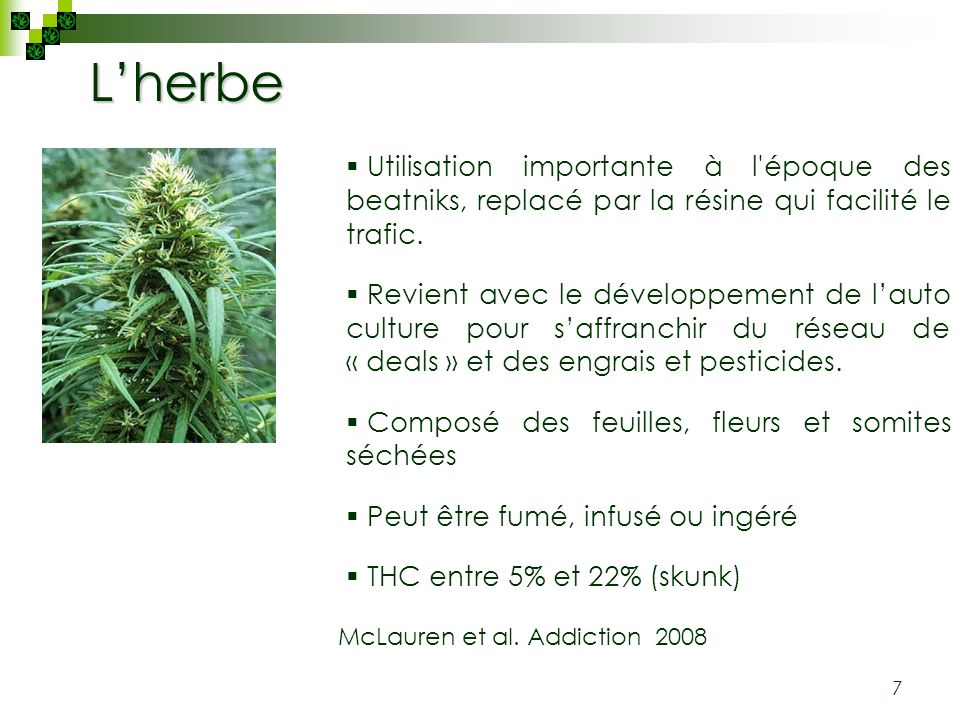 L'herbe Utilisation importante à l époque des beatniks, replacé par la résine qui facilité le trafic.