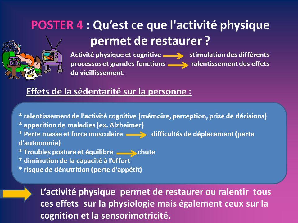 POSTER 4 : Qu'est ce que l activité physique permet de restaurer