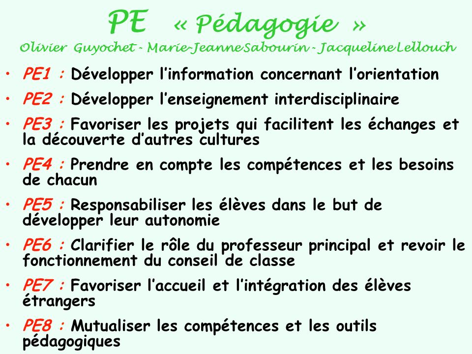 PE « Pédagogie » Olivier Guyochet - Marie-Jeanne Sabourin - Jacqueline Lellouch