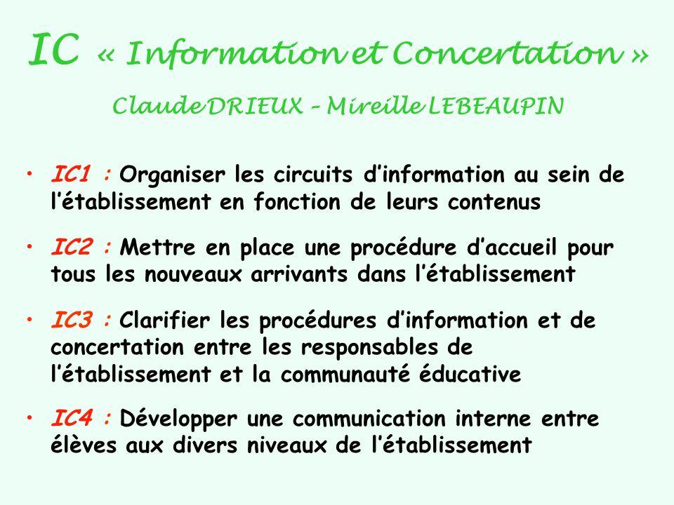 IC « Information et Concertation » Claude DRIEUX – Mireille LEBEAUPIN