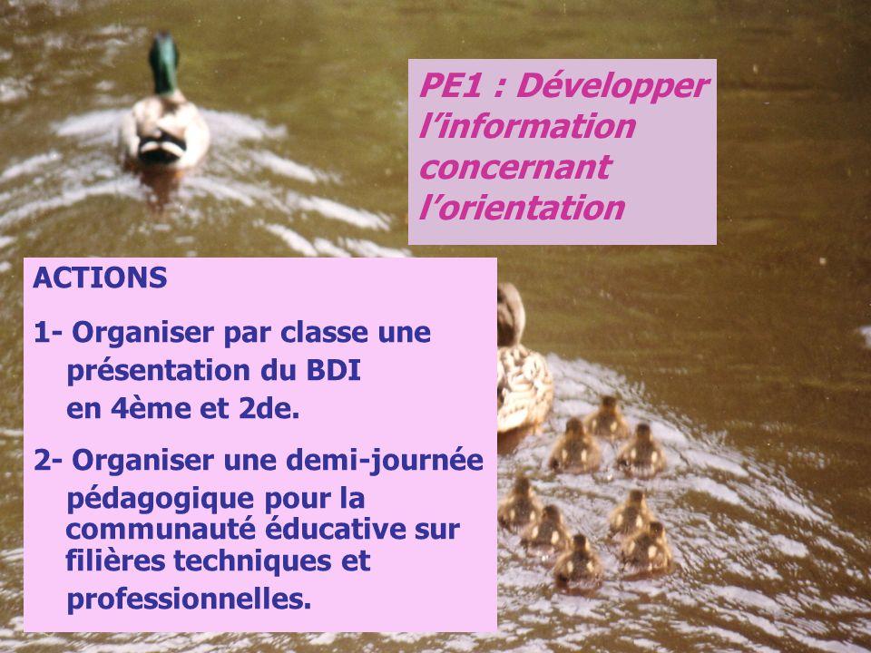 PE1 : Développer l'information concernant l'orientation