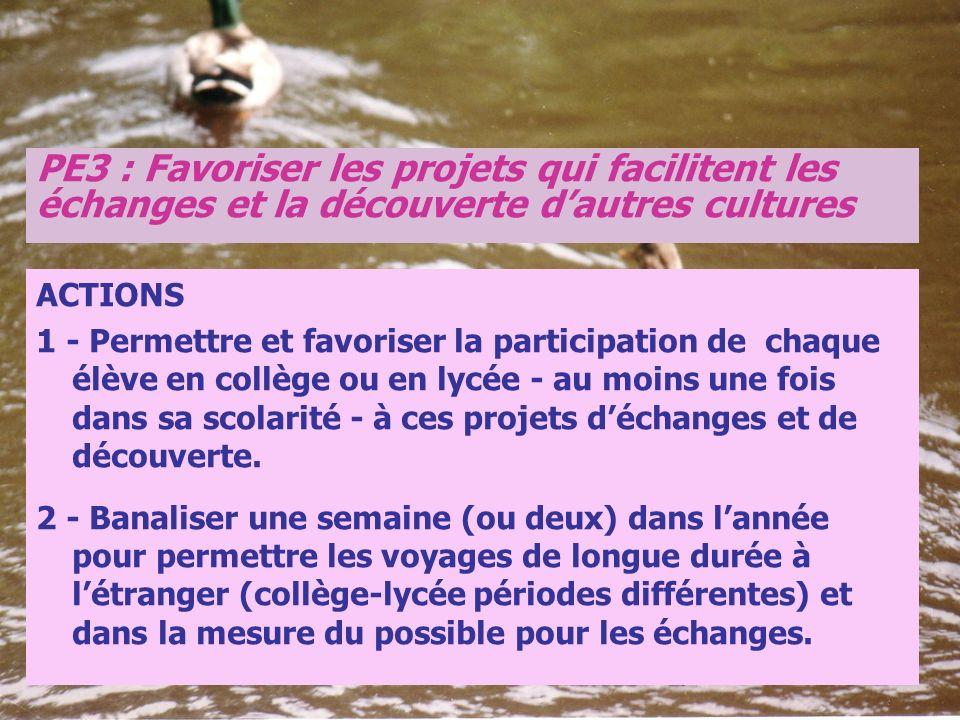 PE3 : Favoriser les projets qui facilitent les échanges et la découverte d'autres cultures