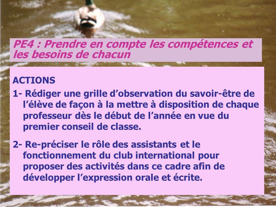 PE4 : Prendre en compte les compétences et les besoins de chacun