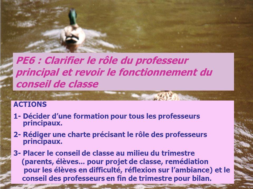PE6 : Clarifier le rôle du professeur principal et revoir le fonctionnement du conseil de classe