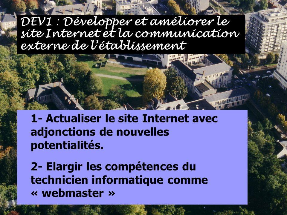 DEV1 : Développer et améliorer le site Internet et la communication externe de l'établissement