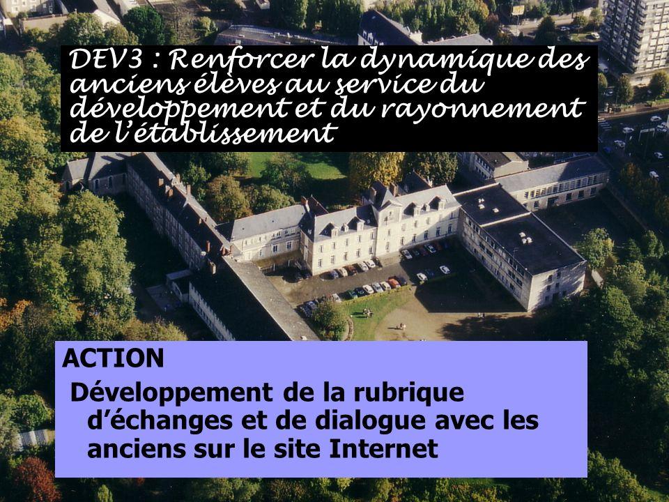 DEV3 : Renforcer la dynamique des anciens élèves au service du développement et du rayonnement de l'établissement