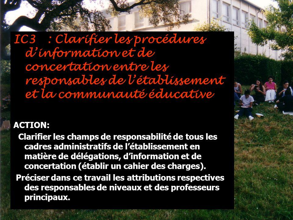 IC3 : Clarifier les procédures d'information et de concertation entre les responsables de l'établissement et la communauté éducative