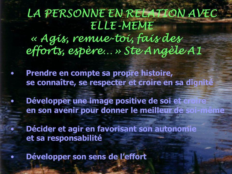 LA PERSONNE EN RELATION AVEC ELLE-MEME
