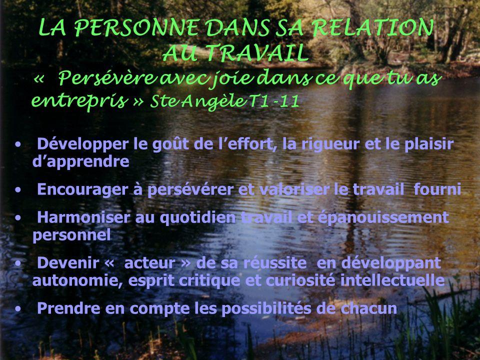 LA PERSONNE DANS SA RELATION AU TRAVAIL