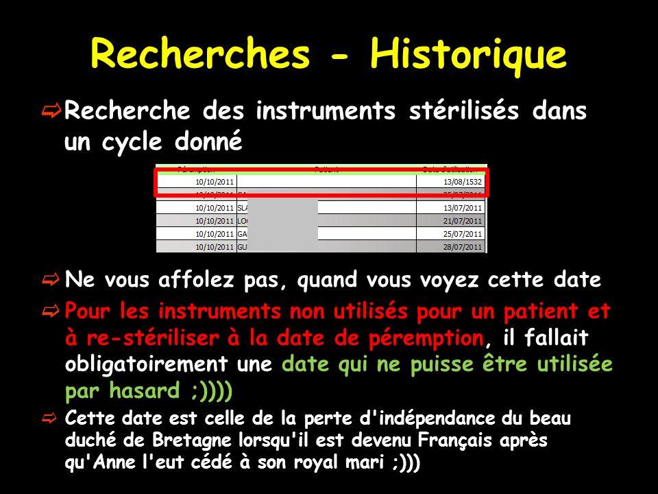Recherches - Historique