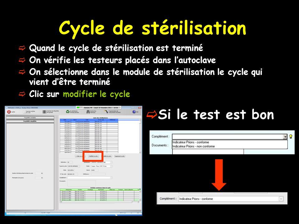Cycle de stérilisation