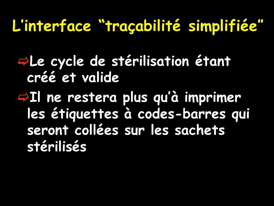 L'interface traçabilité simplifiée″
