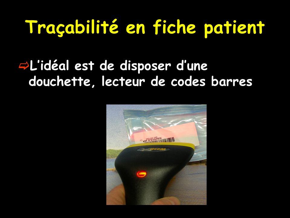 Traçabilité en fiche patient