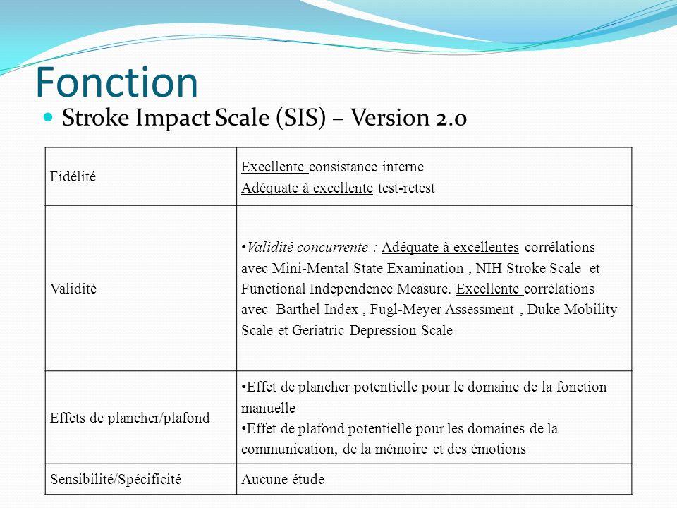 Fonction Stroke Impact Scale (SIS) – Version 2.0 Fidélité