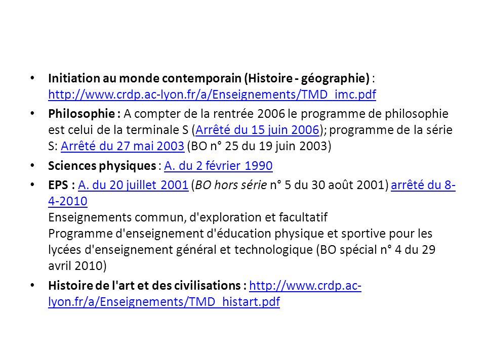 Initiation au monde contemporain (Histoire - géographie) : http://www