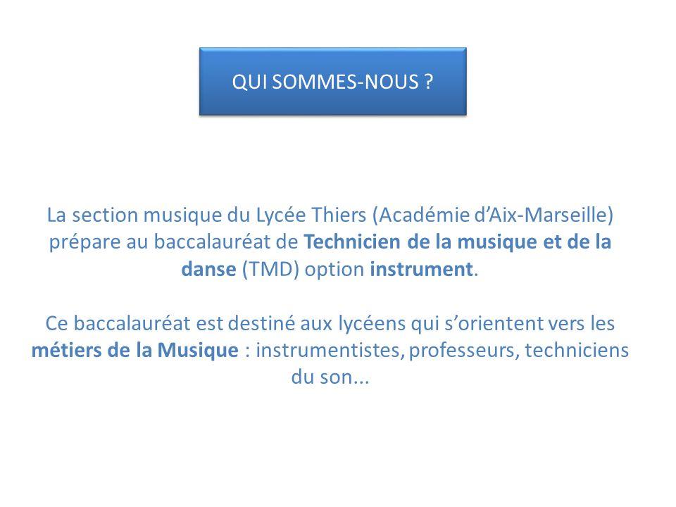 La section musique du Lycée Thiers (Académie d'Aix-Marseille) prépare au baccalauréat de Technicien de la musique et de la danse (TMD) option instrument. Ce baccalauréat est destiné aux lycéens qui s'orientent vers les métiers de la Musique : instrumentistes, professeurs, techniciens du son...