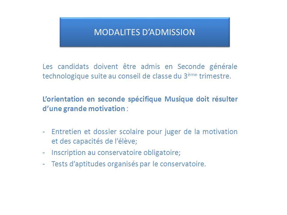 MODALITES D'ADMISSION