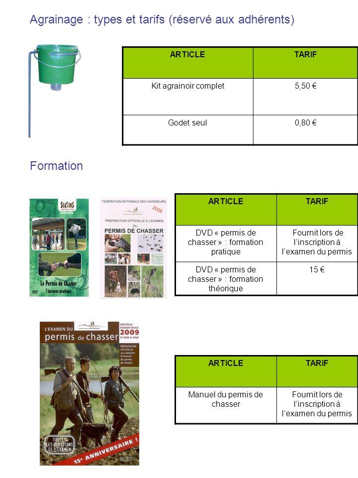 Agrainage : types et tarifs (réservé aux adhérents)