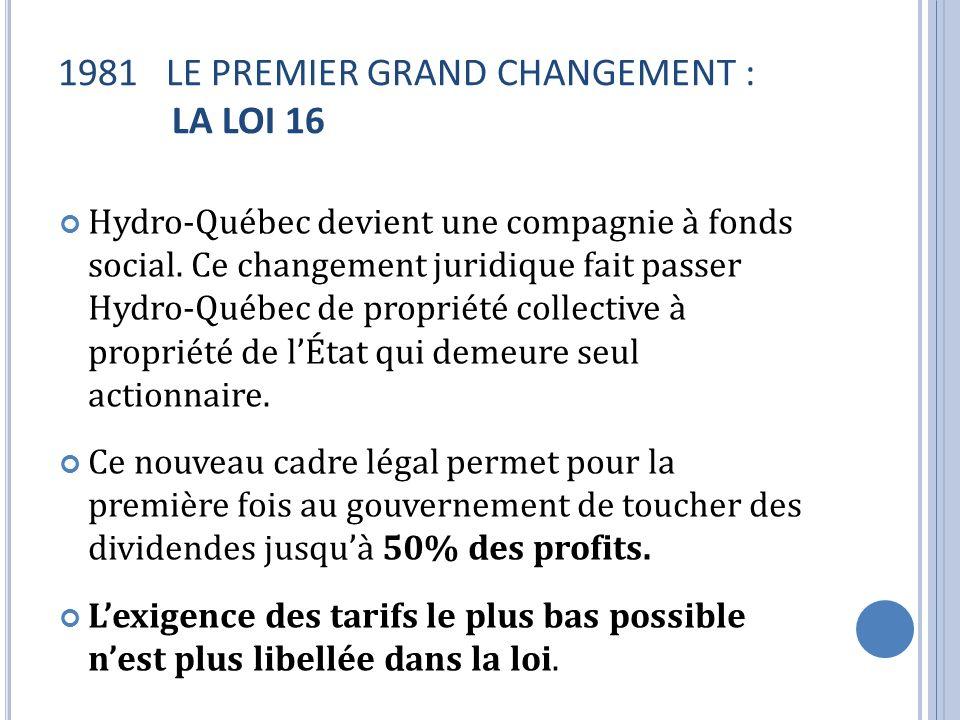 LE PREMIER GRAND CHANGEMENT : LA LOI 16