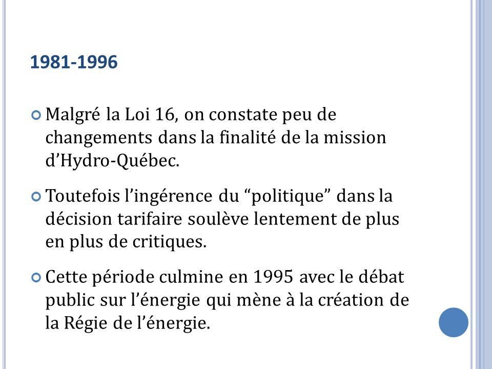 1981-1996 Malgré la Loi 16, on constate peu de changements dans la finalité de la mission d'Hydro-Québec.