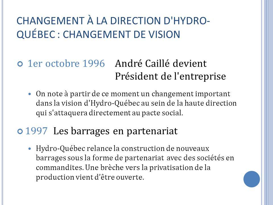 CHANGEMENT À LA DIRECTION D HYDRO-QUÉBEC : CHANGEMENT DE VISION