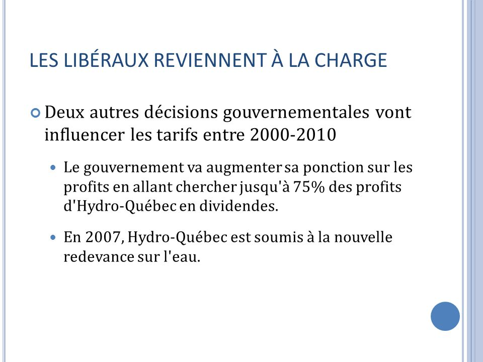 LES LIBÉRAUX REVIENNENT À LA CHARGE