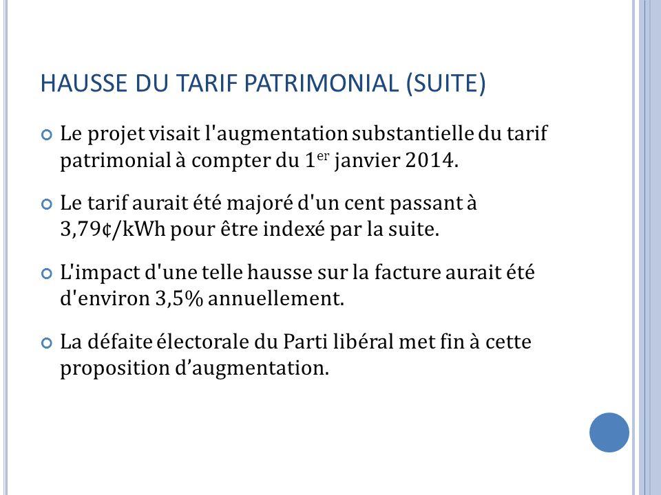 HAUSSE DU TARIF PATRIMONIAL (SUITE)