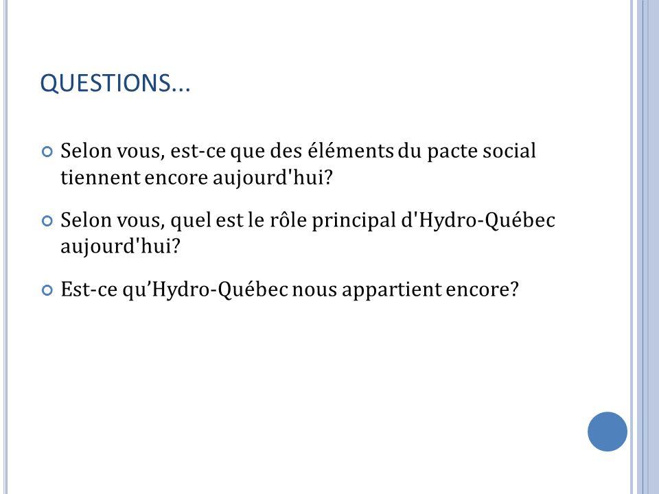 QUESTIONS... Selon vous, est-ce que des éléments du pacte social tiennent encore aujourd hui