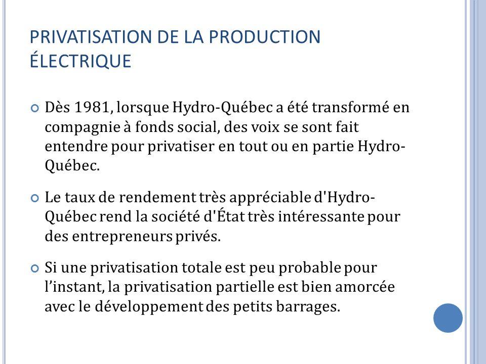 PRIVATISATION DE LA PRODUCTION ÉLECTRIQUE