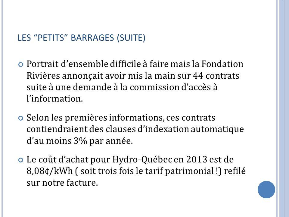 LES PETITS BARRAGES (SUITE)