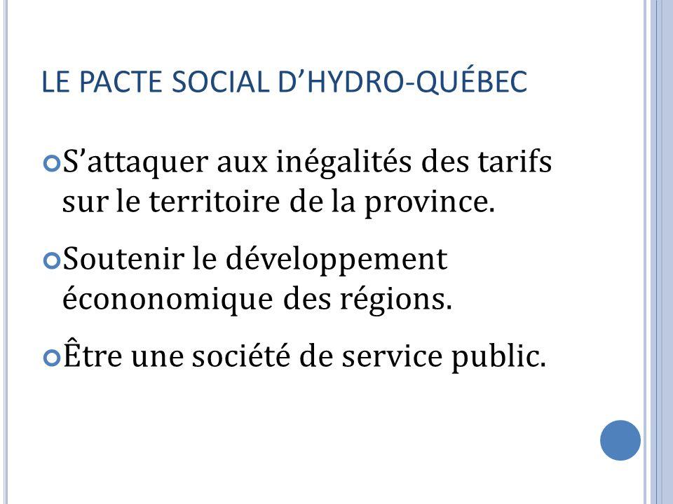 LE PACTE SOCIAL D'HYDRO-QUÉBEC