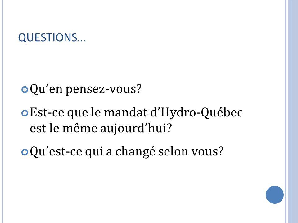 Est-ce que le mandat d'Hydro-Québec est le même aujourd'hui