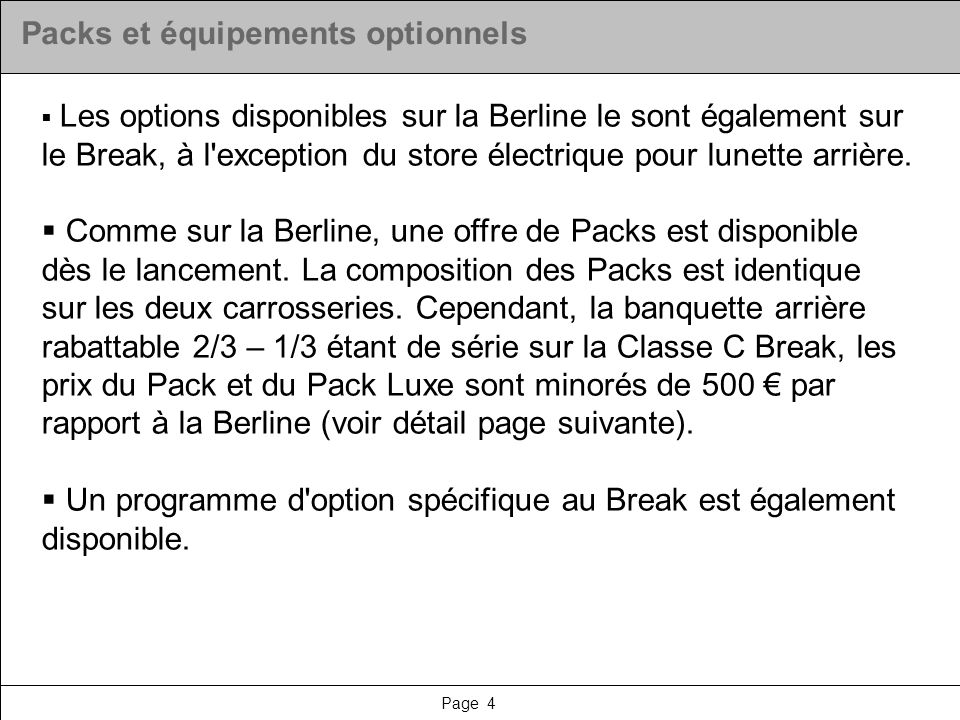 Packs et équipements optionnels
