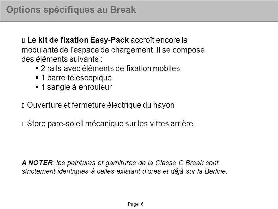 Options spécifiques au Break