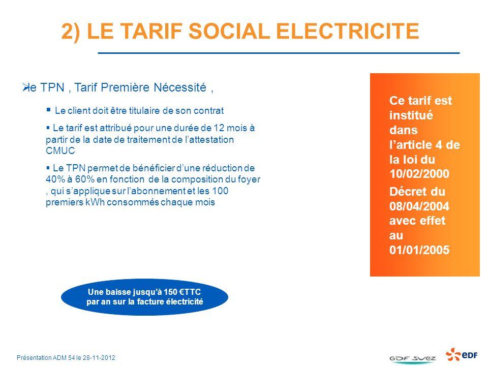 2) LE TARIF SOCIAL ELECTRICITE