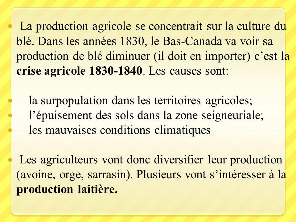 La production agricole se concentrait sur la culture du blé