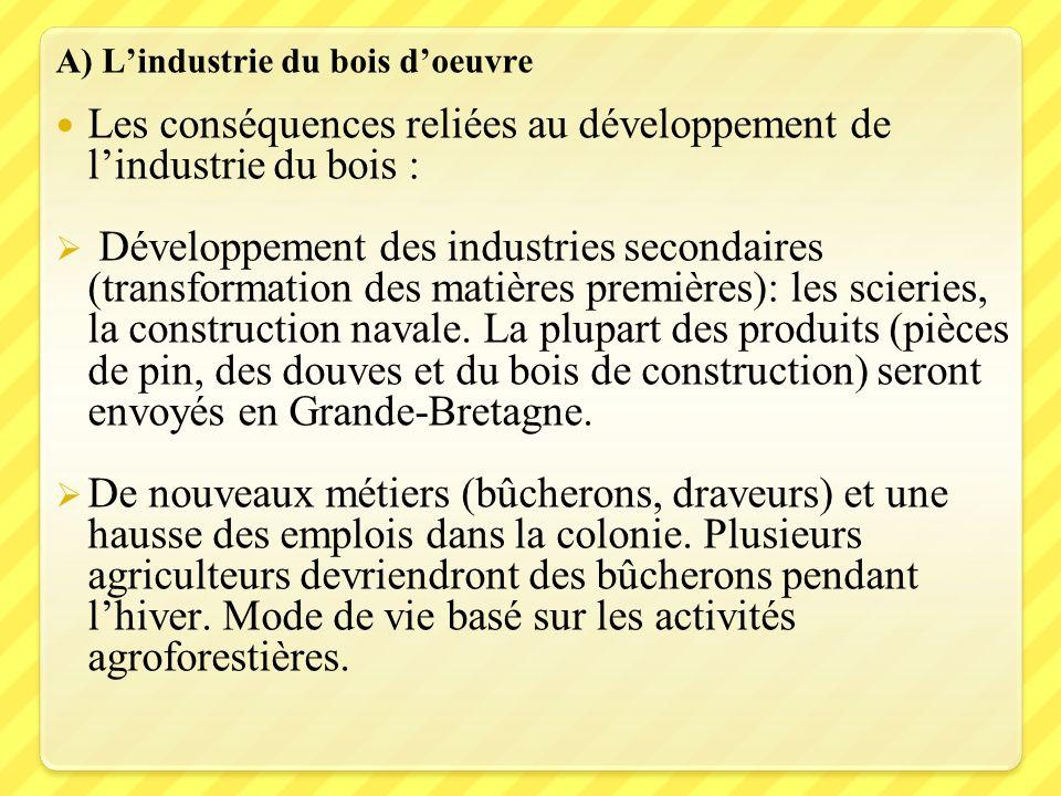 Les conséquences reliées au développement de l'industrie du bois :