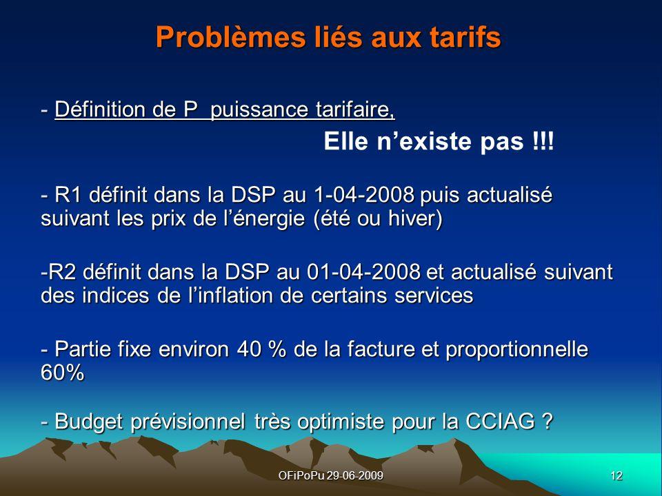 Problèmes liés aux tarifs