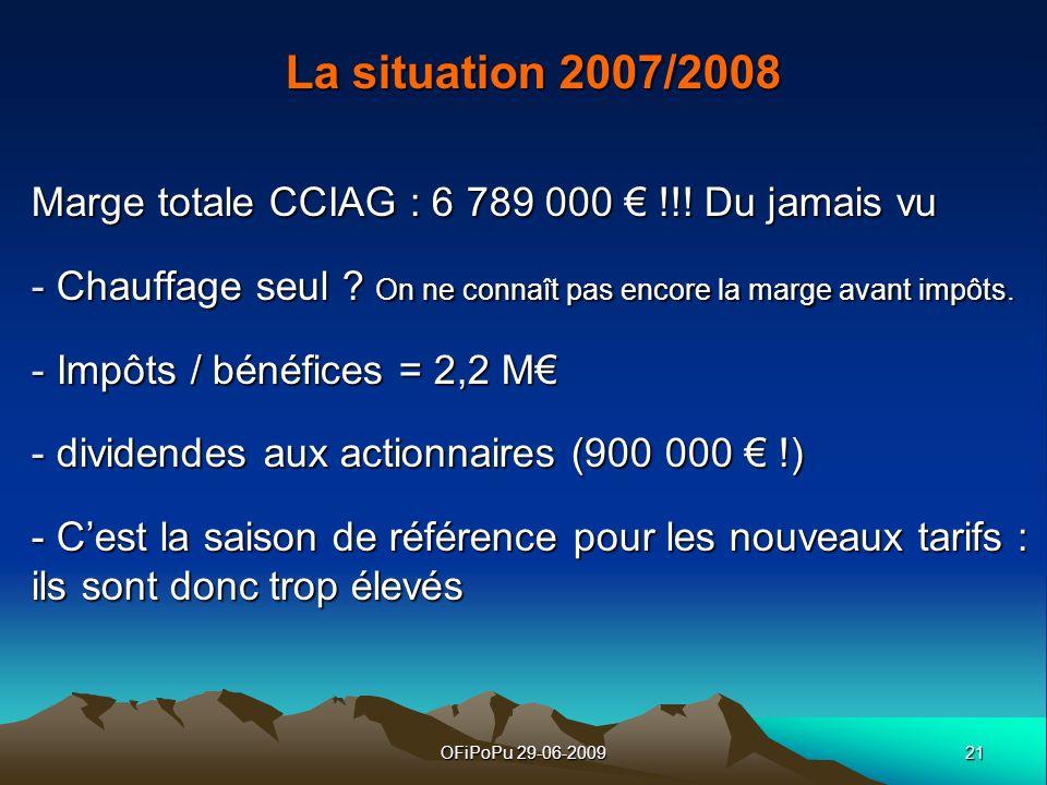La situation 2007/2008 Marge totale CCIAG : 6 789 000 € !!! Du jamais vu. Chauffage seul On ne connaît pas encore la marge avant impôts.