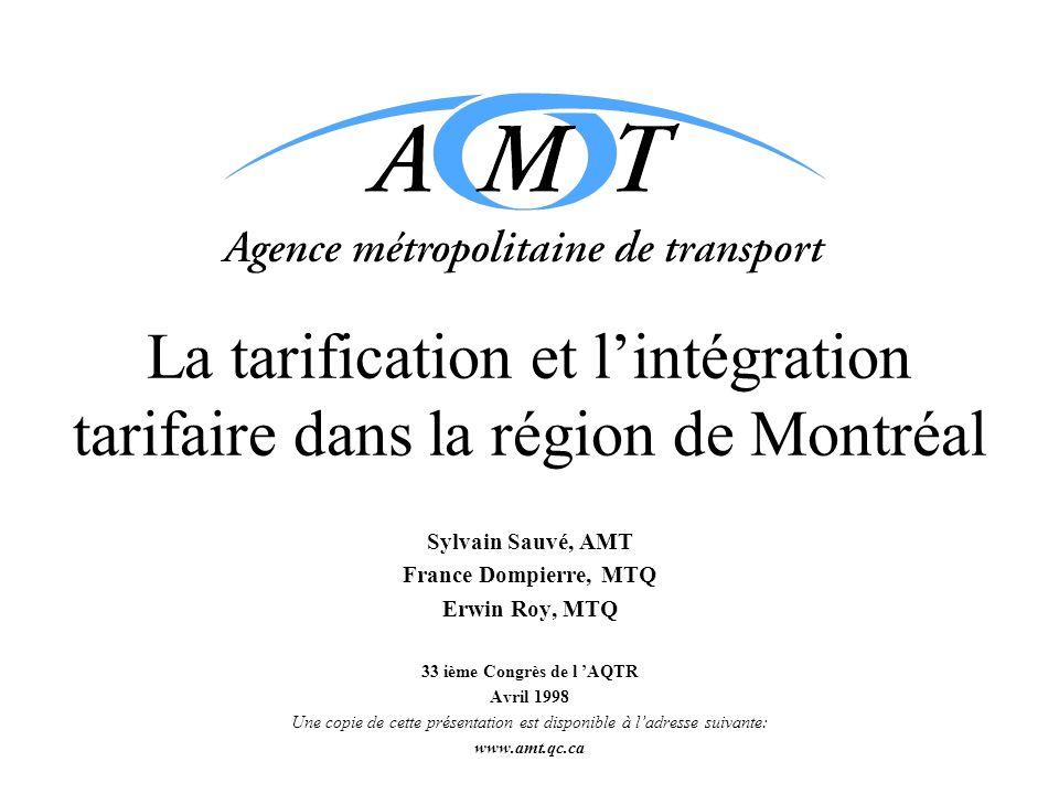 La tarification et l'intégration tarifaire dans la région de Montréal