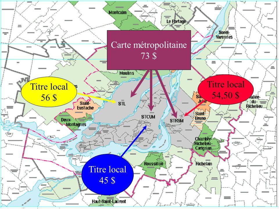 Carte métropolitaine 73 $ Titre local 54,50 $ Titre local 56 $ Titre local 45 $