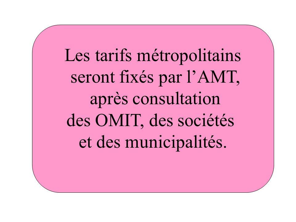 Les tarifs métropolitains