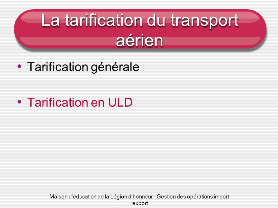 La tarification du transport aérien