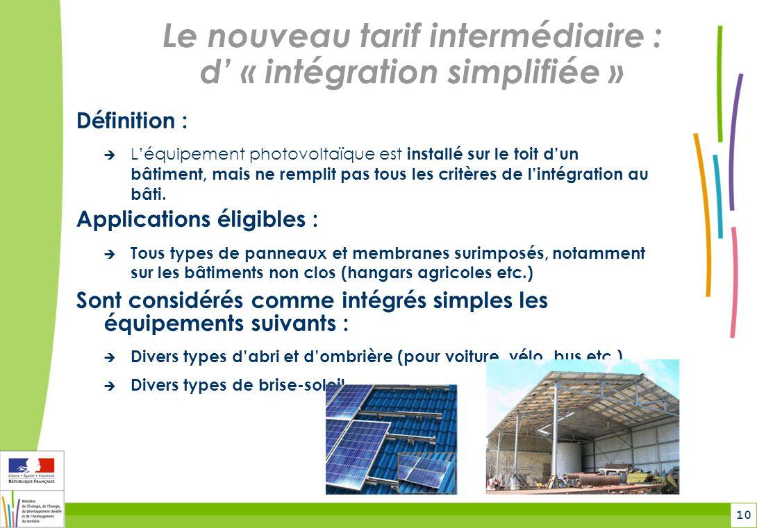 Le nouveau tarif intermédiaire : d' « intégration simplifiée »