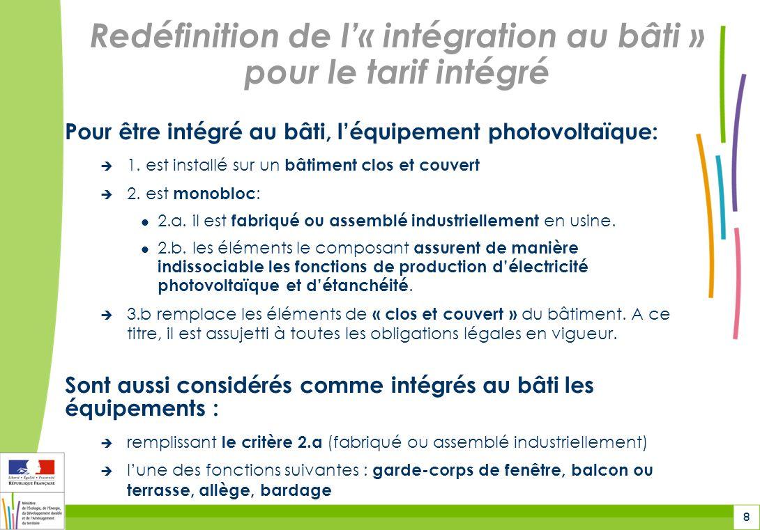 Redéfinition de l'« intégration au bâti » pour le tarif intégré