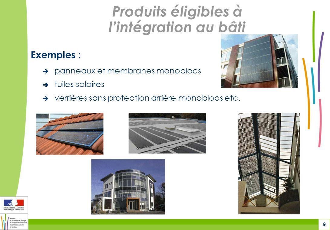 Produits éligibles à l'intégration au bâti