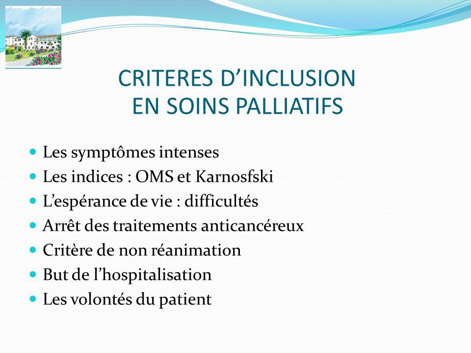 CRITERES D'INCLUSION EN SOINS PALLIATIFS Les symptômes intenses
