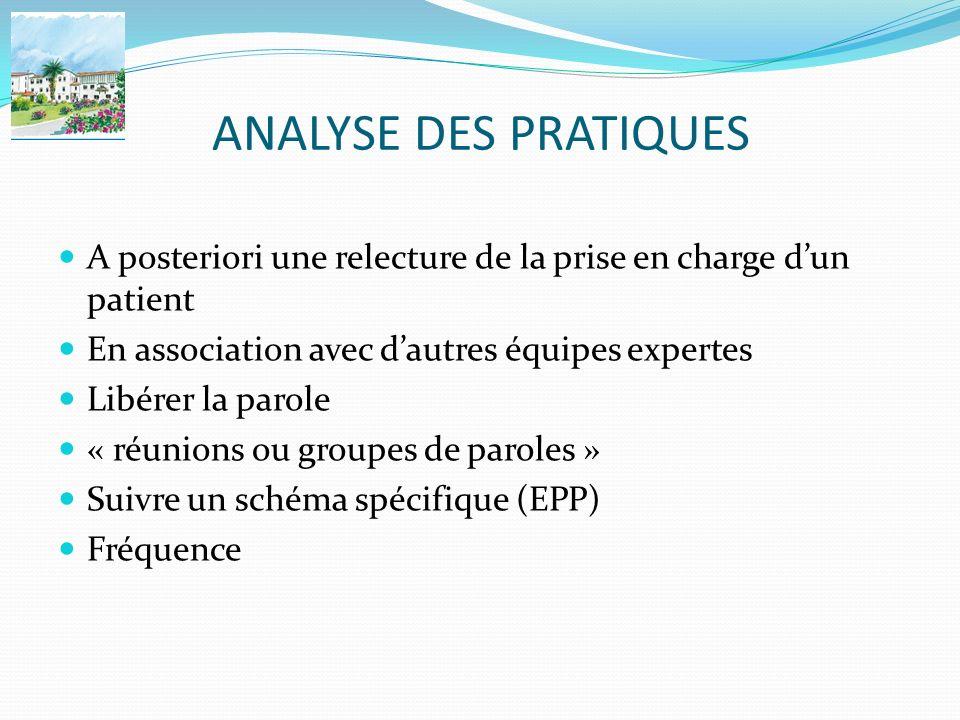 ANALYSE DES PRATIQUES A posteriori une relecture de la prise en charge d'un patient. En association avec d'autres équipes expertes.